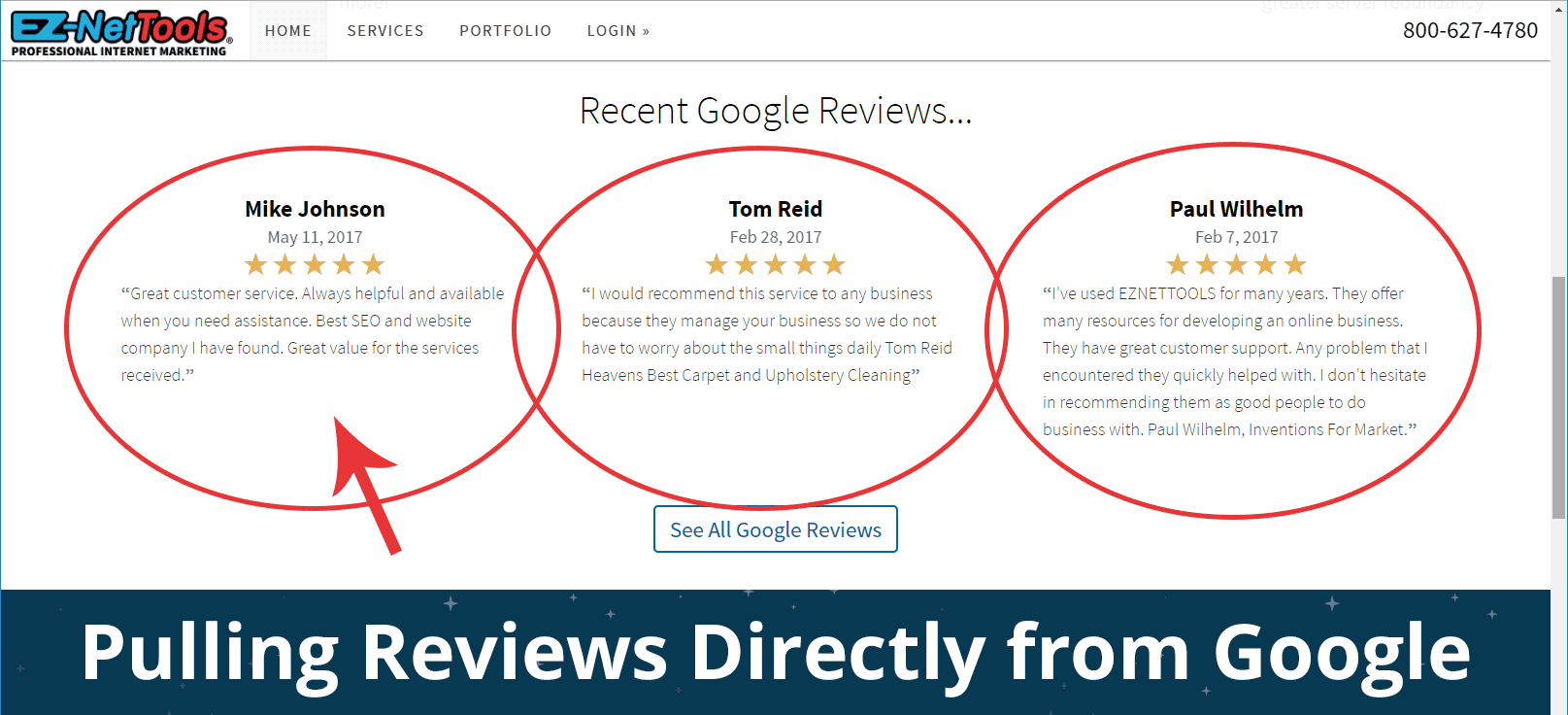 example of Google Reviews Code as seen on EZ-NetTools.com