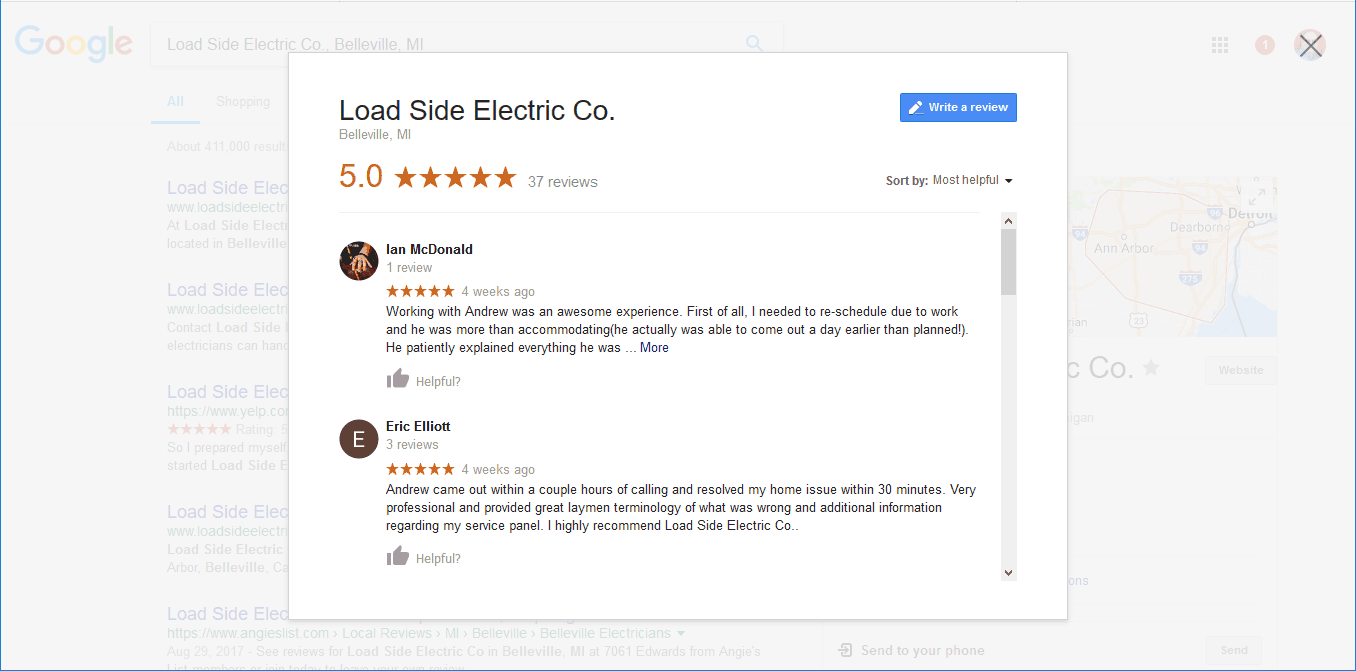 screenshot from Google showing reviews for a company.