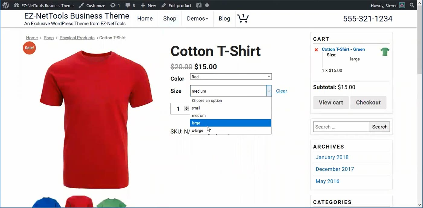 Product with Size & color options in WooCommerce
