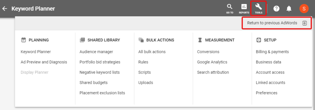 "Screenshot showing the ""Return to previous AdWords"" button"