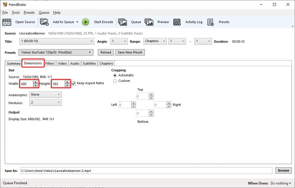 screenshot of handbrake highlighting the Dimensions tab.