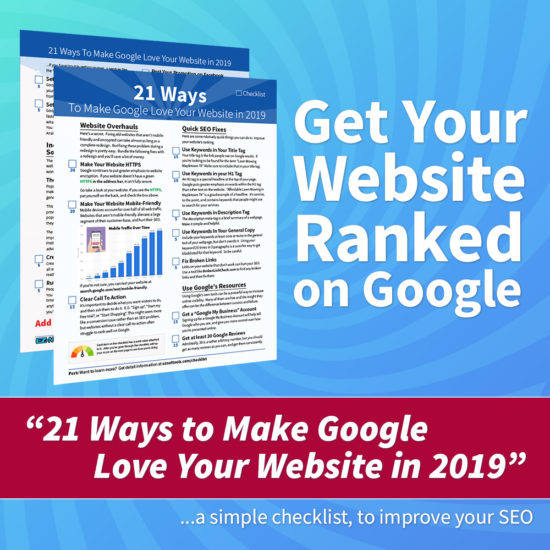 Get Your Website Ranked on Google with our free marketing checklist.